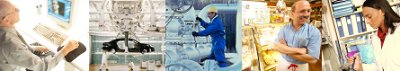 Images de différents secteurs d'activité : bureautique, automobile, industrie, commerce, laboratoire